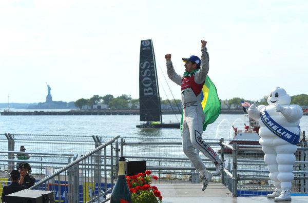 Lucas Di Grassi (BRA), Audi Sport ABT Schaeffler, Audi e-tron FE04, celebrates after winning the race.