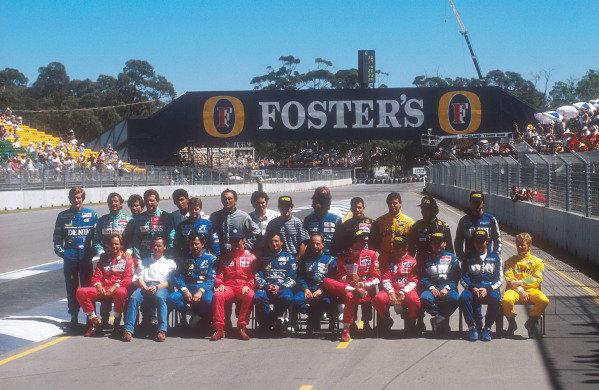 1990 Australian Grand Prix.Adelaide, Australia.2-4 November 1990.The formula one drivers get together for the annual end of year drivers group shot. (back row L-R) Boutsen, Capelli, Dalmas, Gugelmin, Suzuki, Larini, Tarquini. Bernard, Alesi, Piquet, Morbidelli, Warwick, Martini and D Brabham. (front row L-R) Berger, Grouillard, Alliot, Mansell, Patrese, Moreno, Pirro, de Cesaris, Nakajima, Modena and Herbert.Ref-90 AUS 33.World Copyright - LAT Photographic