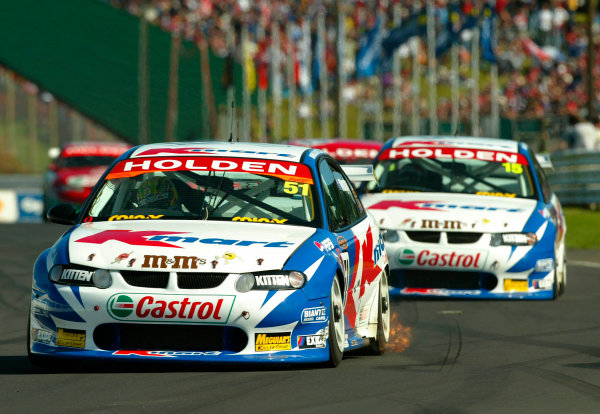 2002 V8 Supercar Championship Round 12 Pukekohe New Zealand 10/11/02: Kmart Racing driver Greg Murphy (51) leads team mate Tod Kelly (15) during race 3. Kelly won race 3 but Murphy won the round and back to back in New Zealand.World Copyright - Horsburgh / LAT Photographicref: digital file only