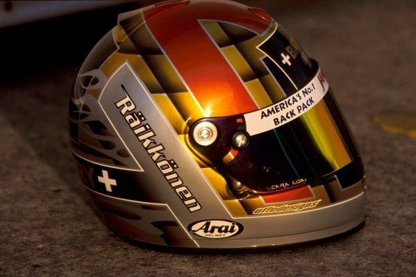 The helmet of Kimi Raikkonen (FIN) at his first car test.  General Testing, Donington Park, England, 16 December 1998.