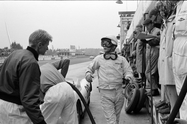 Phil Hill in the pit lane.