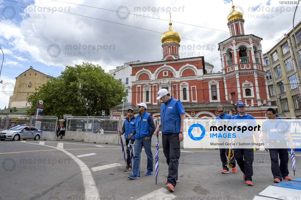Salvador Duran (MEX) - Amlin Aguri and Antonio Felix da Costa (PRT) - Amlin Aguri during the track walk at Formula E Championship, Rd9, Moscow, Russia, 4-6 June 2015.