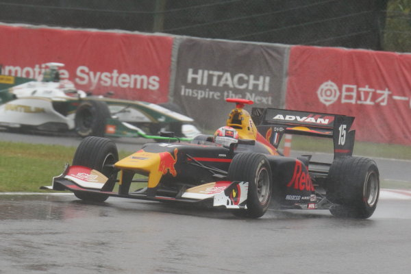 2017 Japanese Super Formula. Suzuka, Japan. 21st - 22nd October 2017. Rd 7. Cancelled race due to Typhoon. 2017 Driver?s 2nd position & Rookie of the Year Pierre Gasly ( #15 TEAM MUGEN SF14 ) action World Copyright: Yasushi Ishihara / LAT Images. Ref: 2017_SF_Rd7_015