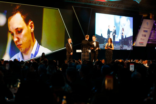 2017 Autosport Awards Grosvenor House Hotel, Park Lane, London. Sunday 3 December 2017. David Coulthard interviews the winner of the Williams Engineer of Future Award, as Paddy Lowe, Williams Martini Racing Formula 1, looks on. World Copyright: Joe Portlock/LAT Images Ref: Digital Image _o3i6948