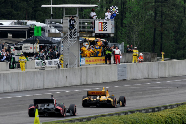 25-27 April, 2014, Birmingham, Alabama USA Ryan Hunter-Reay crosses the finish line under the checkered flag for the win ©2014 Scott R LePage  LAT Photo USA