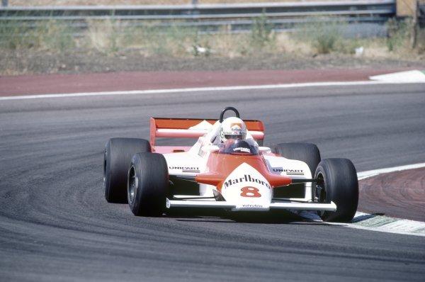 1981 Spanish Grand Prix.Jarama, Spain. 19-21 June 1981.Andrea de Cesaris (McLaren MP4/1-Ford Cosworth), retired.World Copyright: LAT PhotographicRef: 35mm transparency 81ESP31
