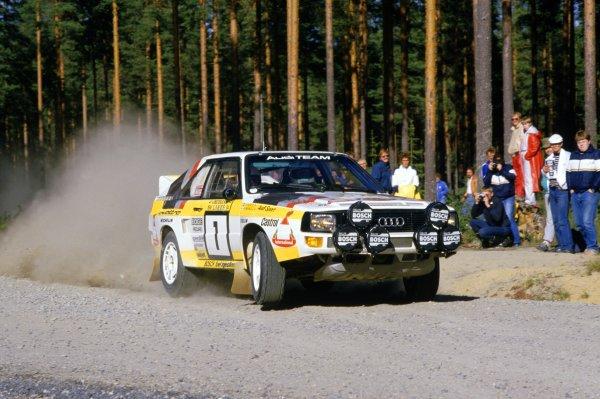 1984 World Rally Championship.1000 Lakes Rally, Finland. 26-28 August 1984.Hannu Mikkola/Arne Hertz (Audi Quattro Sport), retired.World Copyright: LAT PhotographicRef: 35mm transparency 84RALLY13