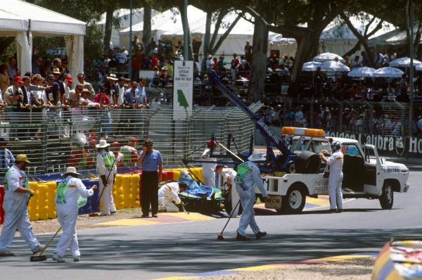 Adelaide, Australia. 10-12 November 1995. Michael Schumacher, Benetton B195 Renault, retired, crashes out, action. Ref-95 AUS 61 World Copyright - LAT Photographic