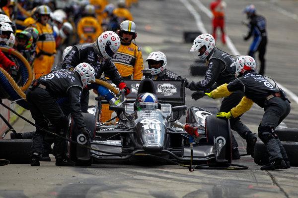 1-3 June, 2012, Detroit, Michigan, USADario Franchitti makes a pit stop.(c)2012, Phillip G. AbbottLAT Photo USA