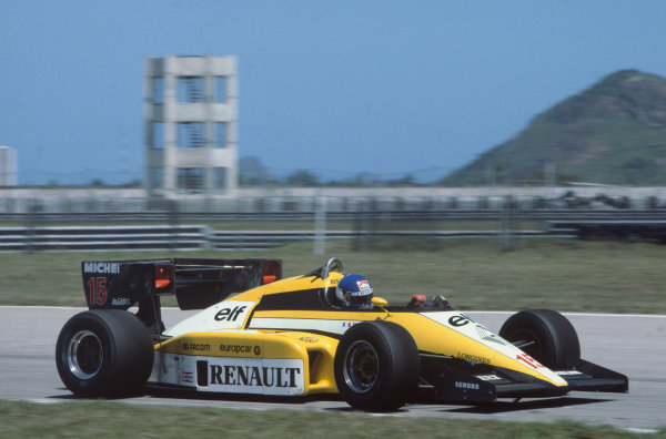Jacarepagua, Rio de Janeiro, Brazil. 23rd - 25th March 1984. Patrick Tambay (Renault RE50), 5th position, action. World Copyright: LAT Photographic.Ref:  84BRA