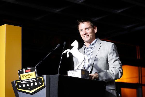 IMSA Continental Tire SportsCar Challenge Series Awards Banquet Road Atlanta, Braselton GA Friday 6 October 2017 Mark Miller with the Continental Extreme Spirit Award World Copyright: Michael L. Levitt LAT Images