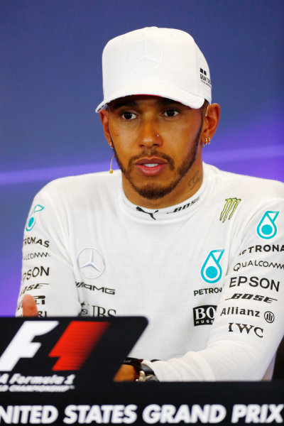 Circuit of the Americas, Austin, Texas, United States of America. Saturday 21 October 2017. Lewis Hamilton, Mercedes AMG, in the press conference. World Copyright: Sam Bloxham/LAT Images  ref: Digital Image _J6I7559