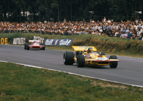 Brands Hatch, England. 16th - 18th July 1970 Ronnie Peterson (March 701-Ford), 9th position, leads Jo Siffert (March 701-Ford), retired. World Copyright: LAT Photographic Ref: 70GB03