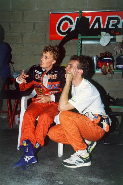 Le Mans, France. 22 - 23 June 1991. Johnny Herbert and Bertrand Gachot (Mazda 787B), 1st position, portrait.  World Copyright: LAT Photographic. Ref: 91LM03.