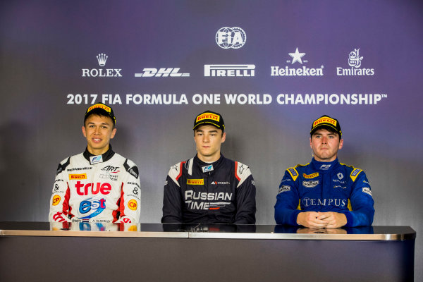 2017 FIA Formula 2 Round 5. Red Bull Ring, Spielberg, Austria. Sunday 9 July 2017. Alexander Albon (THA, ART Grand Prix), Artem Markelov (RUS, RUSSIAN TIME) and Oliver Rowland (GBR, DAMS).  Photo: Zak Mauger/FIA Formula 2. ref: Digital Image _54I0458