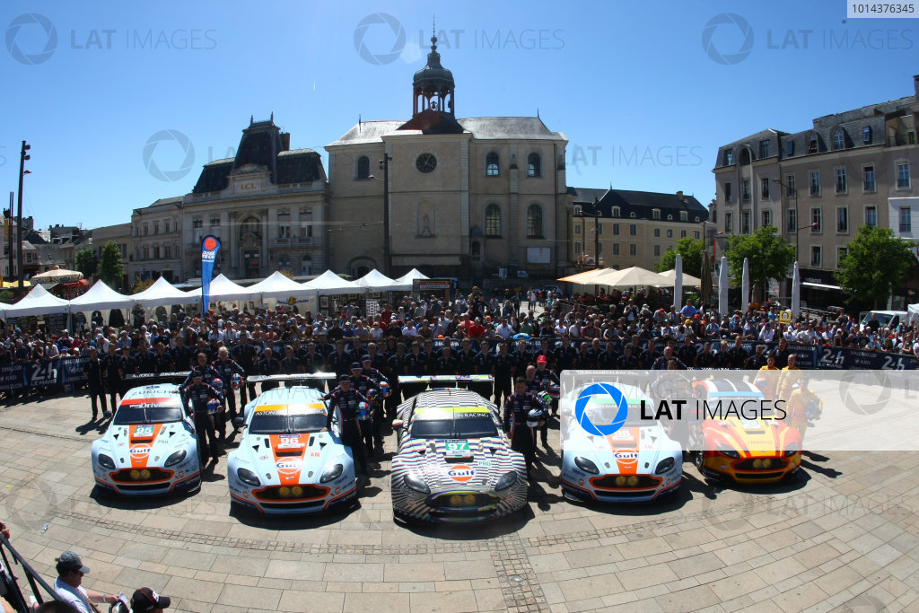 2015 Le Mans 24 Hours. Circuit de la Sarthe, Le Mans, France. Monday 8 June 2015. Aston Martin Racing Team Photo. Aston Martin Racing (Aston Martin Vantage V8 - GTE Pro), Marco Sorensen, Nicki Thiim, Christoffer Nygaard. Aston Martin Racing (Aston Martin Vantage V8 - GTE Am), Roald Goethe, Stuart Hall, Francesco Castellacci. Aston Martin Racing (Aston Martin Vantage V8 - GTE Pro), Darren Turner, Stefan Mucke, Rob Bell. Aston Martin Racing (Aston Martin Vantage V8 - GTE Am), Paul Dalla Lana, Pedro Lamy, Mathias Lauda. Aston Martin Racing (Aston Martin Vantage V8 - GTE Pro), Fernando Rees, Alex MacDowall, Richie Stanaway. World Copyright: Ebrey/LAT Photographic. ref: Digital Image 20150608_Le_Mans_Scrutineering_17