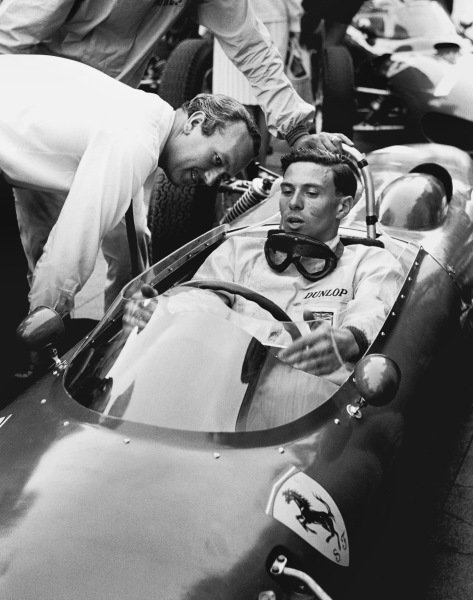 Nurburgring, Germany.3-5 August 1962.Jim Clark (Team Lotus) sits in the rival Ferrari Dino 156 car with his team boss Colin Chapman. Ref: 10027A - 13A.World Copyright: LAT Photographic