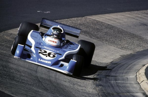 Jacques Laffite (FRA) Ligier JS5 retired on the first lap of the restarted race with a broken gearbox.German Grand Prix, Rd 10, Nurburgring, 1 August 1976.BEST IMAGE
