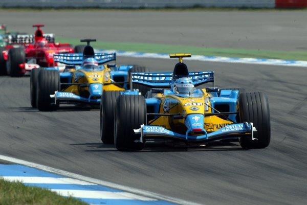 Third placed Jarno Trulli (ITA) Renault R23 leads team mate Fernando Alonso (ESP) Renault R23, who finished fourth.Formula One World Championship, Rd12, German Grand Prix, Race Day, Hockenheim, Germany, 3 August 2003.DIGITAL IMAGE