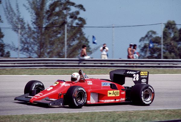 1985 Brazilian Grand Prix.Jacarepagua, Rio de Janeiro, Brazil.5-7 April 1985.Rene Arnoux (Ferrari 156/85) 4th position.Ref-85 BRA 06.World Copyright - LAT Photographic