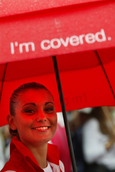 2004 Italian Grand Prix - Sunday Race,Monza, Italy. 12th September 2004 A grid girl shelter from the rain. Luckily she's covered.World Copyright: Steve Etherington/LAT Photographic ref: Digital Image Only