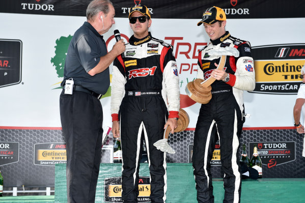 21-22 August 2015, Alton, Virginia USA 17, Porsche, Cayman, ST, Spencer Pumpelly, Luis Rodriguez Jr. on the podium ?2014, Scott R LePage  LAT Photo USA