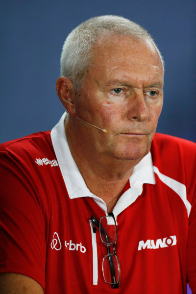 Marina Bay Circuit, Singapore. Friday 18 September 2015. John Booth, Team Principal, Manor Marussia F1, in the team principals Press Conference. World Copyright: Alastair Staley/LAT Photographic ref: Digital Image _79P0747