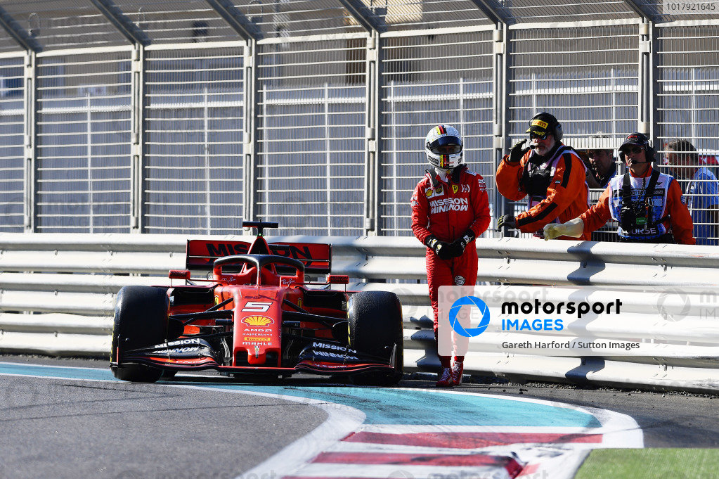 Sebastian Vettel, Ferrari SF90, walks away from his car after a crash