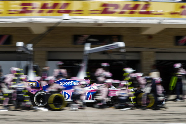 Sergio Perez, Racing Point RP19, comes in for a stop