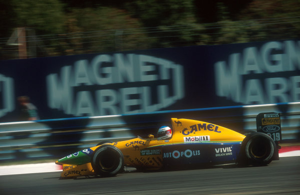 1991 Italian Grand Prix.Monza, Italy.6-8 September 1991.Michael Schumacher (Benetton B191 Ford) 5th position. His first drive for the Benetton team.Ref-91 ITA 01.World Copyright - LAT Photographic