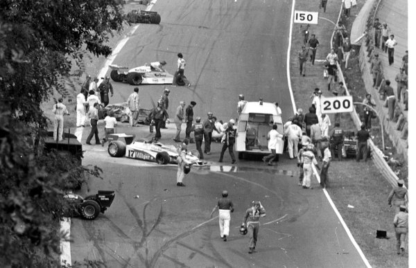 1978 Italian Grand Prix.Monza, Italy.8-10 September 1978.The scene after the first lap multiple accident which claimed the life of Ronnie Peterson (Lotus 78-Ford Cosworth).World Copyright - LAT Photographic