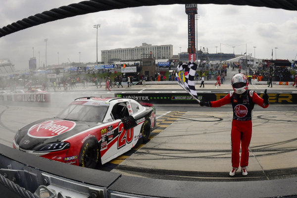 #20: Christopher Bell, Joe Gibbs Racing, Toyota Supra Rheem celebrates after winning