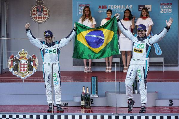 Teammates Cacá Bueno (BRA), Jaguar Brazil Racing and Sérgio Jimenez (BRA), Jaguar Brazil Racing celebrate their 1-2 on the podium