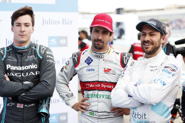 Alex Lynn (GBR), Panasonic Jaguar Racing, Lucas Di Grassi (BRA), Audi Sport ABT Schaeffler, and Stoffel Vandoorne (BEL), HWA Racelab