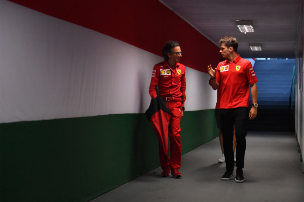 Laurent Mekies, Sporting Director, Ferrari, and Charles Leclerc, Ferrari