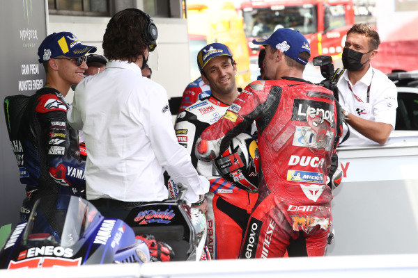 Polesitter Fabio Quartararo, Yamaha Factory Racing, second place Jack Miller, Ducati Team, third place Johann Zarco, Pramac Racing .