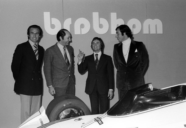(L to R): Carlos Reutemann (ARG); ???; Bernie Ecclestone (GBR) Brabham Team Owner and Carlos Pace (BRA) at the launch of the Brabham BT44B featuring sponsorship from Martini. 1975 Formula One World Championship.