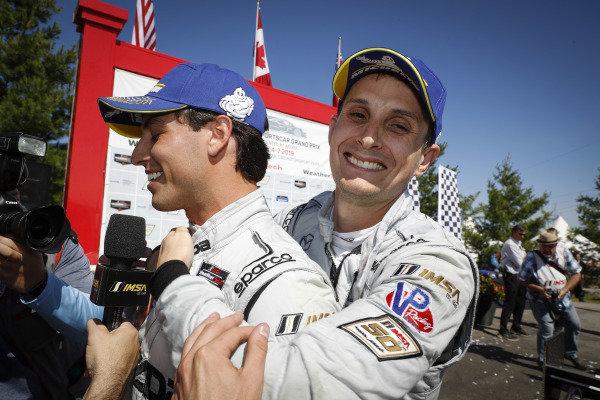 #77 Mazda Team Joest Mazda DPi, DPi: Oliver Jarvis, Tristan Nunez celebration in Victory Lane