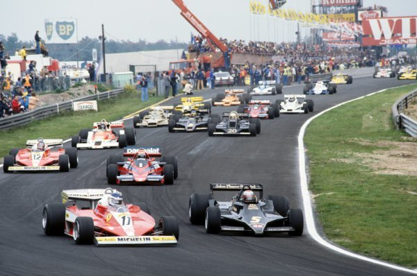 (L to R): Third placed Carlos Reutemann (ARG) Ferrari 312T3 battles with pole sitter and race winner Mario Andretti (USA) Lotus 79 into the first corner at the start of the race.Belgian Grand Prix, Rd 6, Zolder, Belgium, 21 May 1978.BEST IMAGE