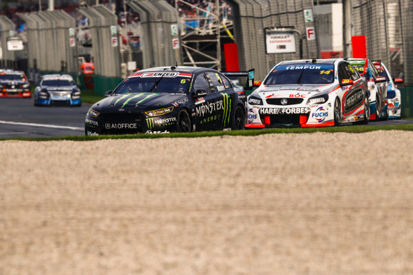 Australian Supercars Series Albert Park, Melbourne, Australia. Friday 24 March 2017. Race 2. Cameron Waters, No.6 Ford Falcon FG-X, The Bottle-O Racing Team and Monster Energy Racing, leads Tim Slade, No.14 Holden Commodore VF, Brad Jones Racing, andCraig Lowndes, No.888 Holden Commodore VF, TeamVortex. World Copyright: Zak Mauger/LAT Images ref: Digital Image _56I5956