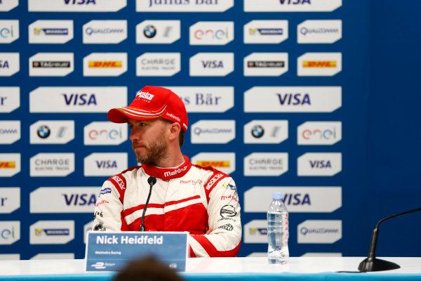 2016/2017 FIA Formula E Championship. Monte-Carlo, Monaco Saturday 13 May 2017. Nick Heidfeld (GER), Mahindra Racing, Spark-Mahindra, Mahindra M3ELECTRO, in the press conference. Photo: Sam Bloxham/LAT/Formula E ref: Digital Image _W6I6893