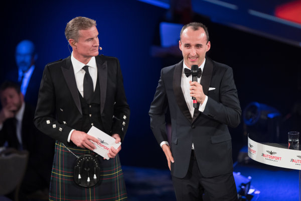 2017 Autosport Awards Grosvenor House Hotel, Park Lane, London. Sunday 3 December 2017. Robert Kubica on stage with Presenter David Coulthard. World Copyright: Joe Portlock/LAT Images  ref: Digital Image _R3I6111