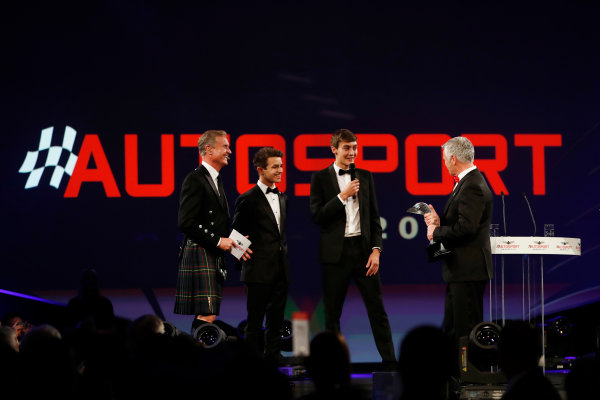 2017 Autosport Awards Grosvenor House Hotel, Park Lane, London. Sunday 3 December 2017. Derek Warwick receives an award from Lando Norris and George Russell. World Copyright: Joe Portlock/LAT Images Ref: Digital Image _o3i6813