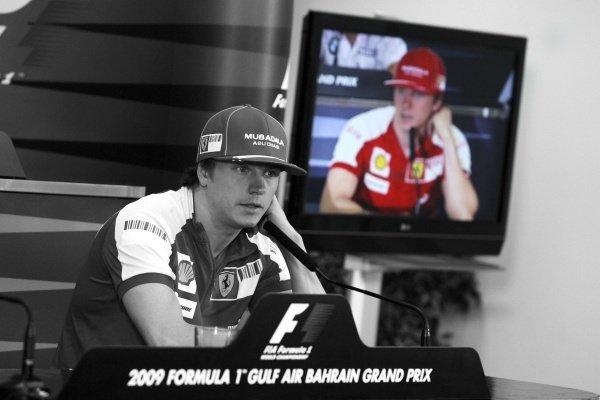 Kimi Raikkonen (FIN) Ferrari in the FIA Press Conference.Formula One World Championship, Rd 4, Bahrain Grand Prix, Preparations, Bahrain International Circuit, Sakhir, Bahrain, Thursday 23 April 2009.