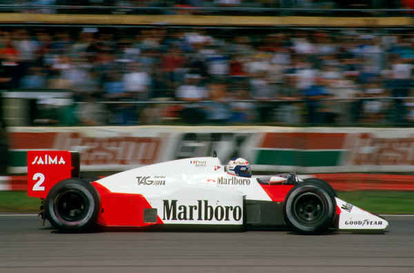 Silverstone, England.19-21 July 1985.Alain Prost (McLaren MP4/2B TAG Porsche) 1st position.Ref-85 GB .World Copyright - LAT Photographic