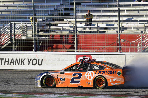 #2: Brad Keselowski, Team Penske, Ford Mustang celebrates his win