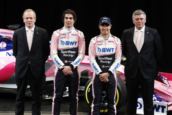 (L to R): Andrew Green, SportPesa Racing Point F1 Team Technical Director, Lance Stroll, SportPesa Racing Point F1 Team, Sergio Perez, SportPesa Racing Point F1 Team and Otmar Szafnauer, SportPesa Racing Point F1 Team Principal during the SportPesa Racing Point F1 Team Launch in Toronto