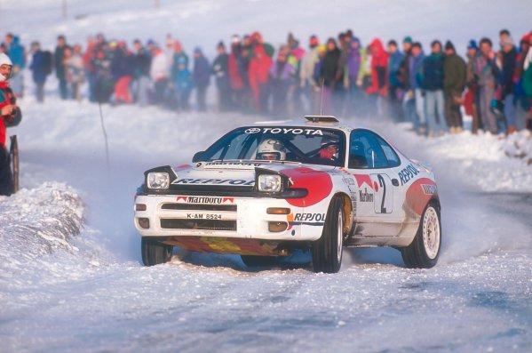 1992 FIA World Rally Championship.Monte Carlo Rally, Monaco.23-28 January 1992.Carlos Sainz/Luis Moya (Toyota Celica Turbo 4WD ST185) 2nd position.World Copyright - LAT Photographic