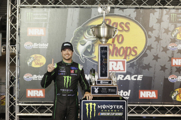 #41: Kurt Busch, Stewart-Haas Racing, Ford Fusion Monster Energy / Haas Automation celebrates his win in Victory Lane