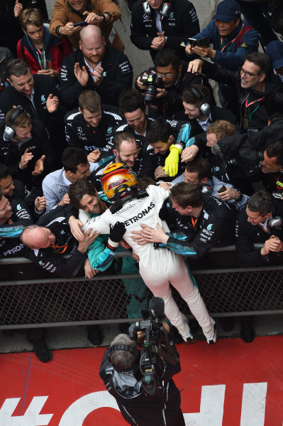 Race winner Lewis Hamilton (GBR) Mercedes AMG F1 celebrates in parc ferme with the team at Formula One World Championship, Rd2, Chinese Grand Prix, Race, Shanghai, China, Sunday 9 April 2017.